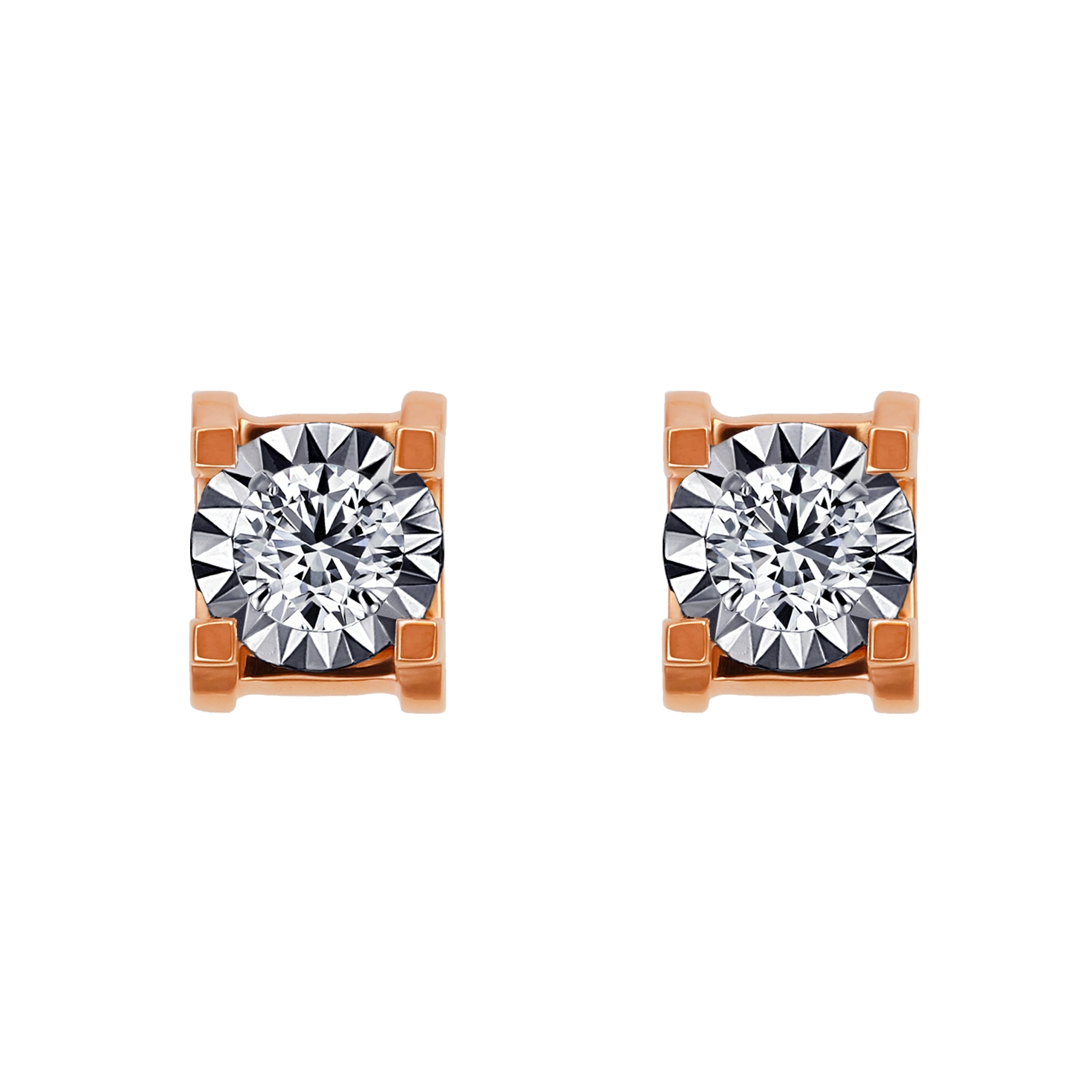 20分鑽石玫瑰K金耳環