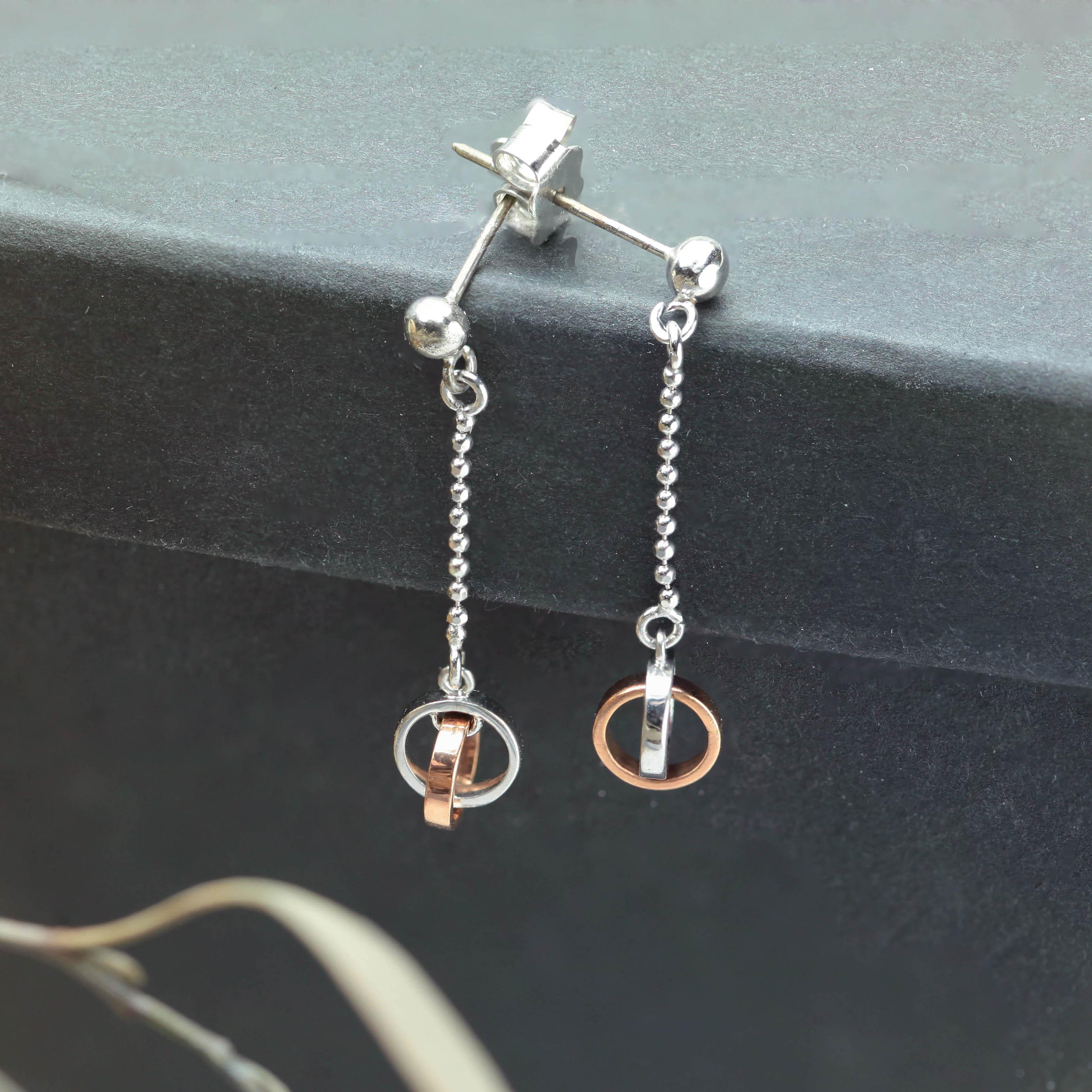 雙色K金耳環