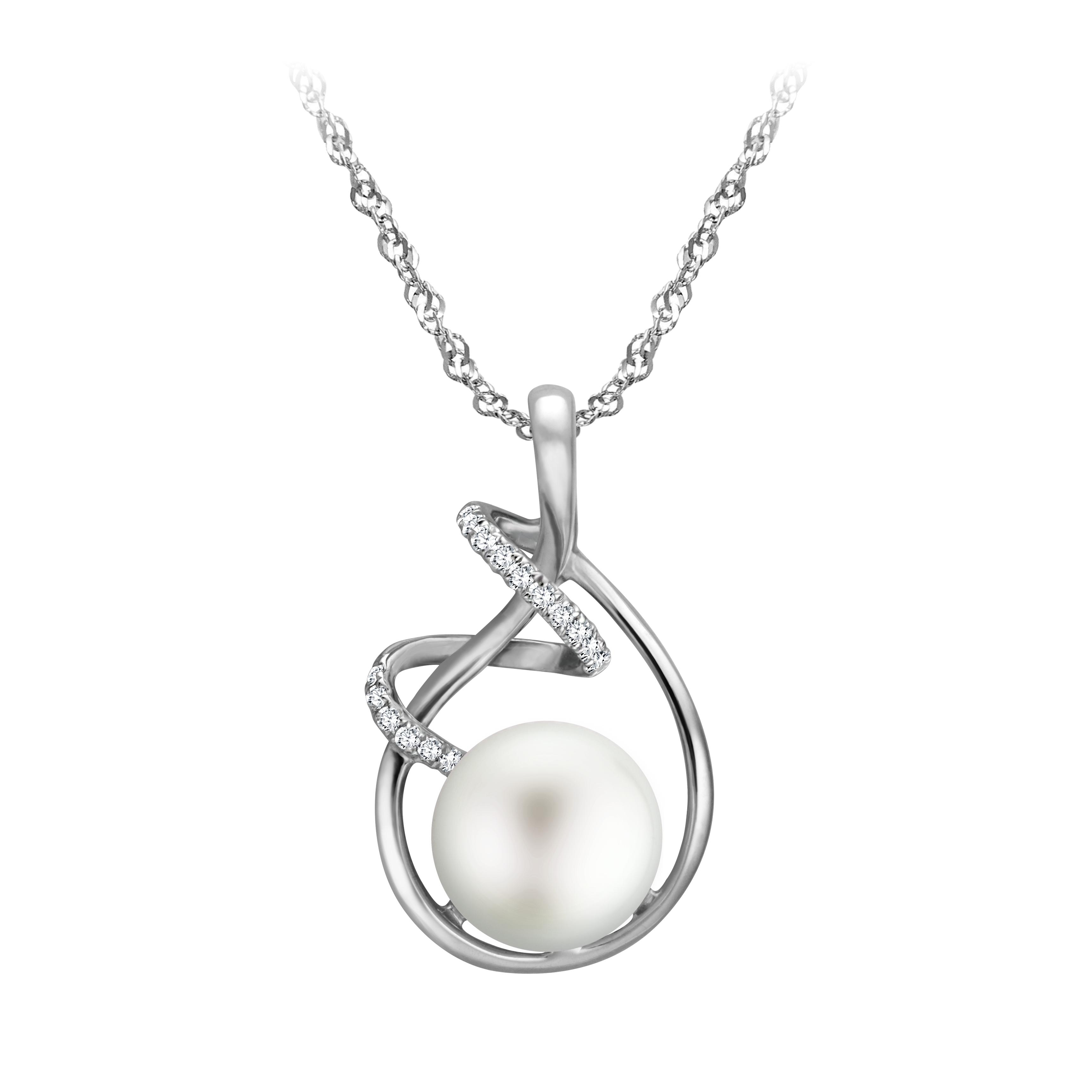 10.5mm珍珠鑲鑽墜子